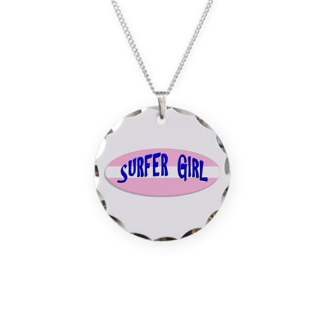 Surfer Girl Necklace Circle Charm