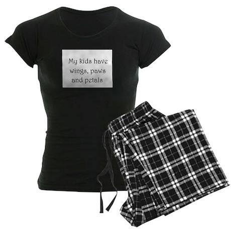 My kids have wings,paws,and Women's Dark Pajamas
