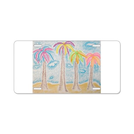Colorful Palms Aluminum License Plate
