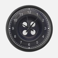 Big Black Button Large Wall Clock