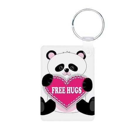 Free Hugs Panda Aluminum Photo Keychain
