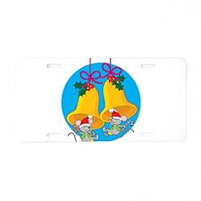 Christmas Bell Mice Aluminum License Plate