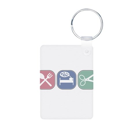 Eat Sleep Scrapbook Aluminum Photo Keychain