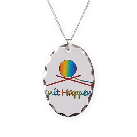 Knit Happens Necklace Oval Charm