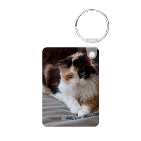 Calico Kitty Aluminum Photo Keychain