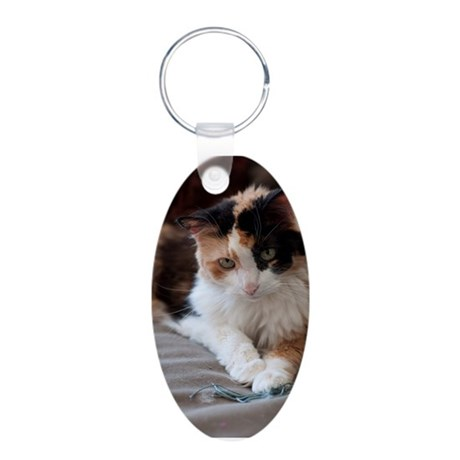 Calico Kitty Aluminum Oval Keychain