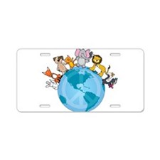 Peace on Earth Animals Aluminum License Plate