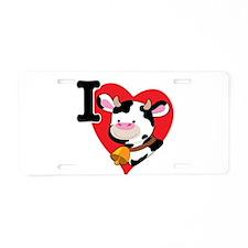 I Love Cows Aluminum License Plate