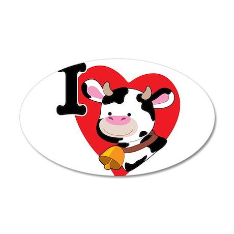 I Love Cows 38.5 x 24.5 Oval Wall Peel