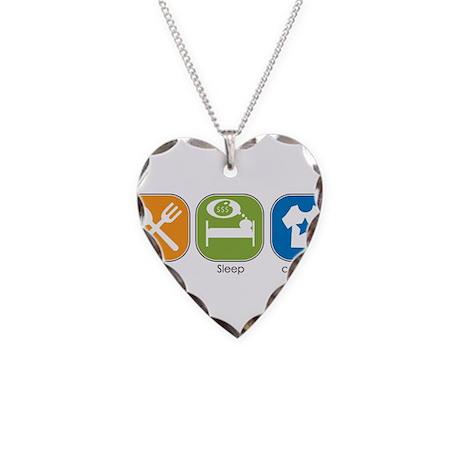 Eat Sleep cafépress Necklace Heart Charm