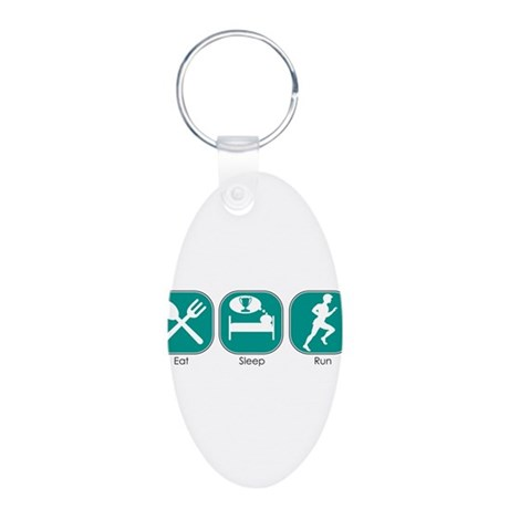 Eat Sleep RUN Aluminum Oval Keychain