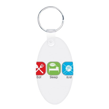 Eat Sleep Knit Aluminum Oval Keychain