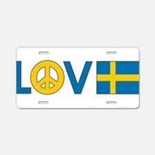 Love Peace Sweden Aluminum License Plate