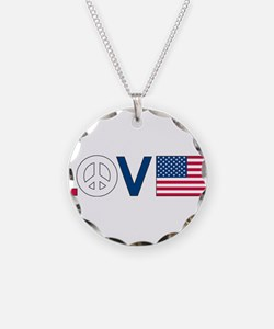 Love Peace America Necklace Circle Charm
