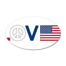 Love Peace America 22x14 Oval Wall Peel