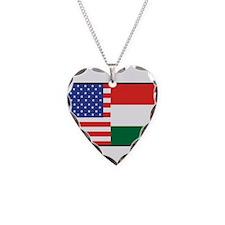 USA/Hungary Necklace Heart Charm