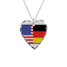 USA/Germany Necklace Heart Charm