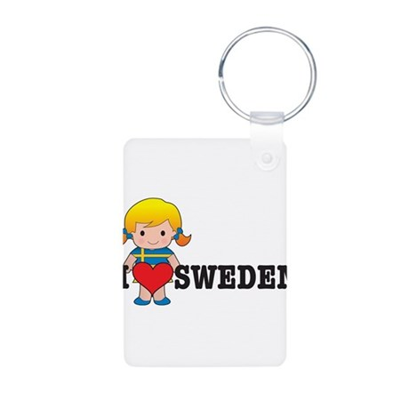 I Love Sweden Aluminum Photo Keychain