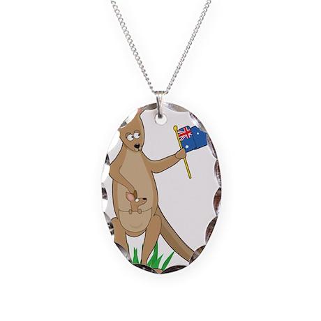 Animal Alphabet Kangaroo Necklace Oval Charm