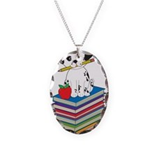 Dog on Books Necklace Oval Charm