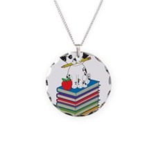 Dog on Books Necklace Circle Charm