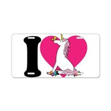 I Love Unicorns Aluminum License Plate