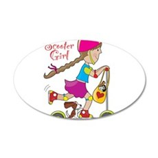 Scooter Girl 22x14 Oval Wall Peel