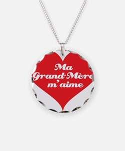 Grandma Loves Me (French) Necklace Circle Charm
