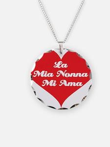 Grandma Loves Me (Italian) Necklace Circle Charm