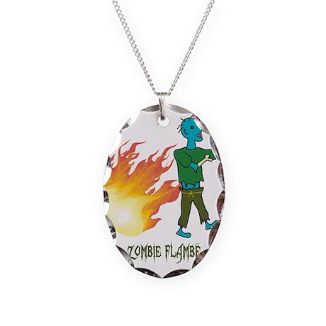 Zombie Flambé Necklace Oval Charm