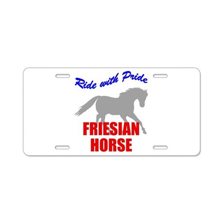 Ride With Pride Friesian Hors Aluminum License Pla
