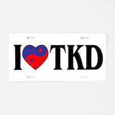 I Love Heart Tae Kwon Do Aluminum License Plate