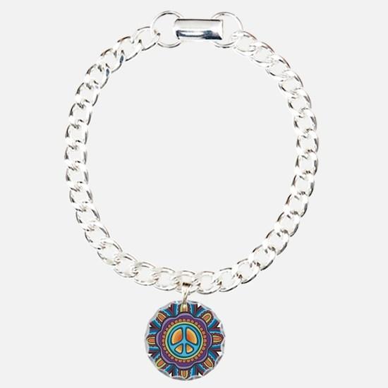 Hippie Peace Flower Charm Bracelet, One Charm