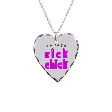 Karate Kick Chick Necklace Heart Charm