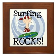 Boy Surfing Rocks Framed Tile