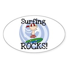 Boy Surfing Rocks Decal