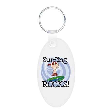 Boy Surfing Rocks Aluminum Oval Keychain