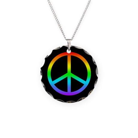 Rainbow Peace Sign Necklace Circle Charm