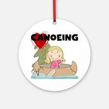 Stick Girl Loves Canoeing Ornament (Round)