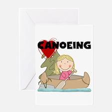 Stick Girl Loves Canoeing Greeting Card