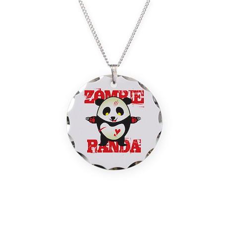 Zombie Panda Necklace Circle Charm