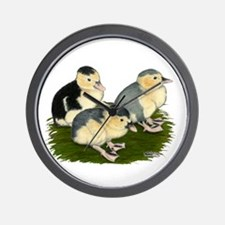 Blue Magpie Ducklings Wall Clock