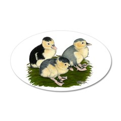 Blue Magpie Ducklings 38.5 x 24.5 Oval Wall Peel