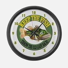Funny Fishing Large Wall Clock