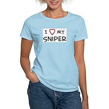 I Love Sniper Women's Pink T-Shirt