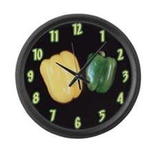 Green and Yellow Peppers Large Wall Clock