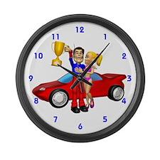 Auto Racing Large Wall Clock