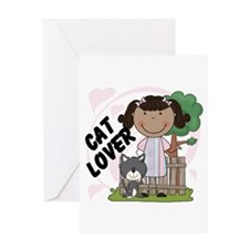 Stick Girl Cat Lover Greeting Card