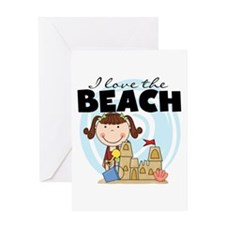 Brunette Girl Love the Beach Greeting Card