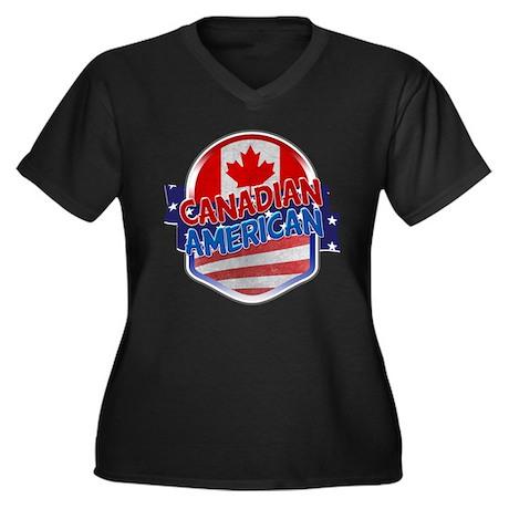Canadian American Women's Plus Size V-Neck Dark T-